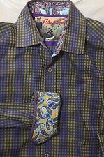 ROBERT GRAHAM GREEN BLUE BROWN CHECK PLAID SHIRT PAISLEY CONTRAST CUFFS SZ XL