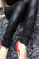 Pantaloni finta pelle Bagnato aderenti ricamati Lace Faux Vinyl Stretch Leggings