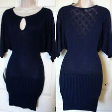BEBE BLUE POINTELLE BACK SWEATER DROP WAIST DRESS NWT NEW $119 XSMALL XS