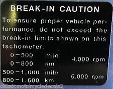 "KAWASAKI GPZ750 GPZ750E TURBO ""BREAK - IN"" CAUTION WARNING DECAL"