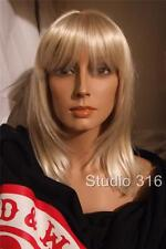 Mid Length Straight Platinum Blonde Wig w Skin Part Bangs Unusual Color