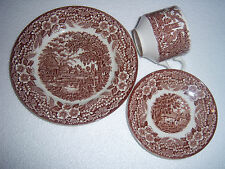 brown transferware vintage CUP SAUCER PLATE landscape English Ironstone
