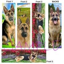3 Set- GERMAN SHEPHERD Dog BOOKMARKS Puppy Book Mark Card Art Beautiful Artisan