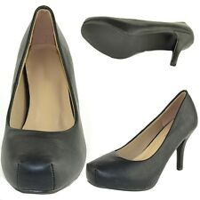 Womens Platform Pumps Faux Leather Closed Toe High Heel Shoes Black Size 5.5-10
