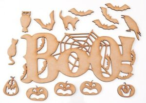 Halloween Wooden MDF Shape - Big BOO! with bats & spider web - set of 15 items