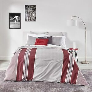 Lacoste Pinstripe Duvet Cover Set With 2 Shams Grey & Red Queen 100% Cotton $180