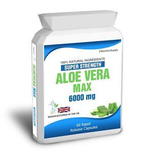 Aloe Vera 60 Max Capsules 6000mg High Strength Colon Cleanse Skin Care