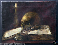 19th Century European Painting Skull and Candle Still Life with Feather Pen