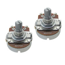 2PCS A500K Full Size Guitar Bass Pots 15mm Split Shaft Pots Potentiometers w/Tip