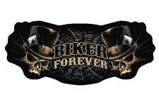 JUMBO EMBROIDERED BIKER FOREVER WITH SKULLS JBP032 11 INCH sew iron back design