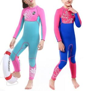 UK New Neoprene 3mm Kids Girls Full Length Wetsuit Swim Surf Scuba Diving Suit