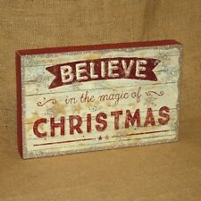 Believe In The Magic Of Christmas Wood Box Sign Picture Primitives by Kathy