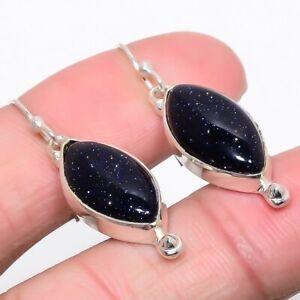 """Blue Sunstone Gemstone 925 Sterling Silver Handmade Jewelry Earring 1.6"""" E663-33"""