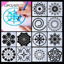 12Pcs Mandala Stamp Stencils Scrapbooking Painting Layering Template Diy Kit Us