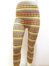 NEW SIZE L RAINBOW TRIBAL STRIPED CHEVRON FASHION TRENDY WOMENS CAPRI TIGHTS