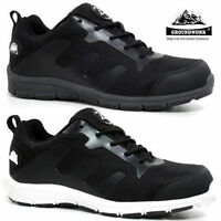 Ladies & Mens Groundwork Steel Toe Lightweight Lace Trainers Work Shoes UK 3-12