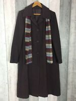 Vintage C&A 80s 90s Purple Brown Wool Blend Long Coat Size UK 14 Matching Scarf