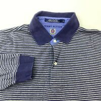 Vintage Tommy Hilfiger Polo Shirt Men's Large Long Sleeve Striped Cotton Casual