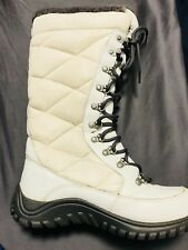 """UGG Australia Women's Boot White Tall Lace Up Leather Boots- """"Knitla""""  Sz 6"""