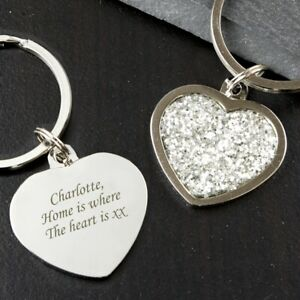 Personalised Diamante Heart Keyring-Free Laser Engraving- Birthday Gift