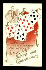 Fortune Telling Playing Card postcard Lounsbury 1907 #2037-1 Tens all Suits