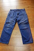 """Vtg French TIMEWORN Work Pants Trousers Button Fly Chore FADED Workwear 32""""W"""
