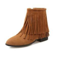 Women's Pointy Toe Suede Fabric Tassels Low Heel Side Zip Casual Ankle Boots D