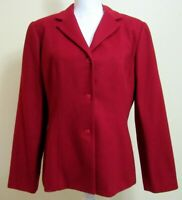 Bloomingdales Wool Cashmere Blend Womens Sz 10 Red Jacket Button Front Stunning