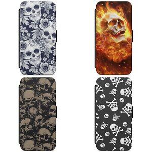 Skull Pattern Skulls Print WALLET FLIP PHONE CASE COVER FOR IPHONE SAMSUNG