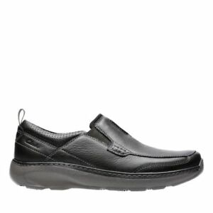 NEW MEN'S CLARKS BLACK LEATHER LOAFER SLIP ON CASUAL SHOES CHARTON STEP 14995