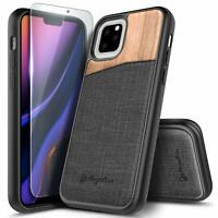 For iPhone 11 Pro /11 Pro Max Case Shockproof Rugged Wood Cover + Tempered Glass
