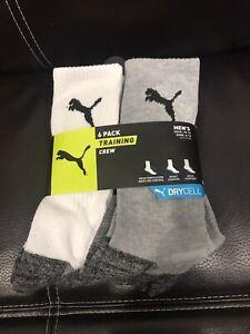 6 Pack Men's Crew Socks- White Gray Training Dry Cell 10-13 P114538zz-107