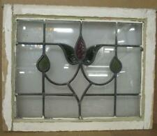 """OLD ENGLISH LEADED STAINED GLASS WINDOW Lovely Tulip Design 22.25"""" x 18"""""""