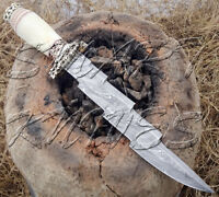 BEAUTIFUL CUSTOM HAND MADE DAMASCUS STEEL HUNTING DAGGER BOWIE KNIFE CAMEL BONE