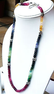 "194CT. NATURAL EMERALD,BLUE&YELLOW,SAPPHIRE BEADS NECKLACE SIZE=20"",HANDMADE."