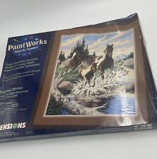 Dimensions PaintWorks Paint By Number Running Horses 16x20 91032 1998 New