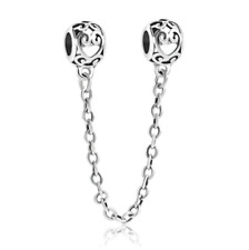 NEW Silver Celtic Ornate Love Hearts Charm European Bracelet Safety Chain Beads