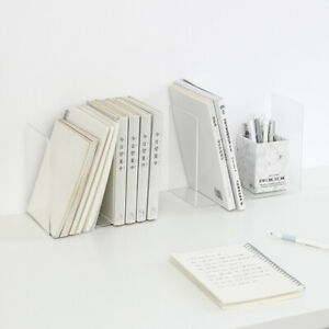 1PC Transparent Bookend Book Support Organizer Book Shelf Durable Office & Home