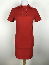 Vintage 1960s Dress XS S Red Mod Polyester Sheath Metal Accents Short Sleeves
