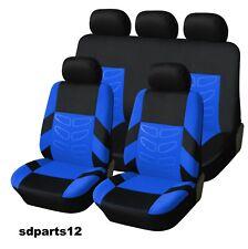 Pour Nissan Peugeot Audi Housses Jeu Complet Couvre Siège Bleu-Noir En Tissu
