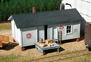 """HO Scale - ELEVATED WAREHOUSE  """"LASER CUT WOOD Building KIT"""" AME-706"""