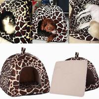 Small Pet Nest Dog Cat Fleece Soft-Warm Bed House Cotton UK Mat Lepard Q0G3