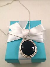 Tiffany & Co Ziegfeld Collection Silver  Black Onyx Oval Pendant Necklace 28""