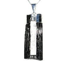 Natural Black Tourmaline & Selenite Crystal Electroformed Pendant + 925 SS Chain