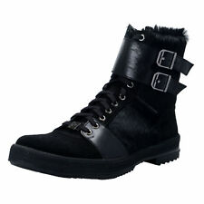Versace Collection Men's Black Pony Hair Leather Boots Shoes US 11 IT 44