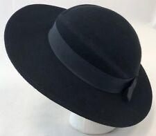 Vintage Arlin Black Wool Felt Womens Molded Church Funeral Dress Church Sun  Hat 9e749f3b513a
