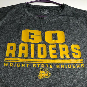 Wright State Raiders Men's Short Sleeve T Shirt Large L Gray Gold Polyester Crew