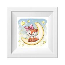 024 Kinderzimmer Bild Fuchs Mond Poster Plakat quadratisch 20 x 20 cm (ohne Rahm