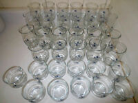 Pfaltzgraff POETRY GLOSSY BLUE ROSE GLASSES & STEMWARE Great Condition VERY RARE