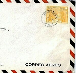 BRITISH GUIANA Cover KGVI 48c SINGLE FRANKING 1951 Commercial Air Mail CP88